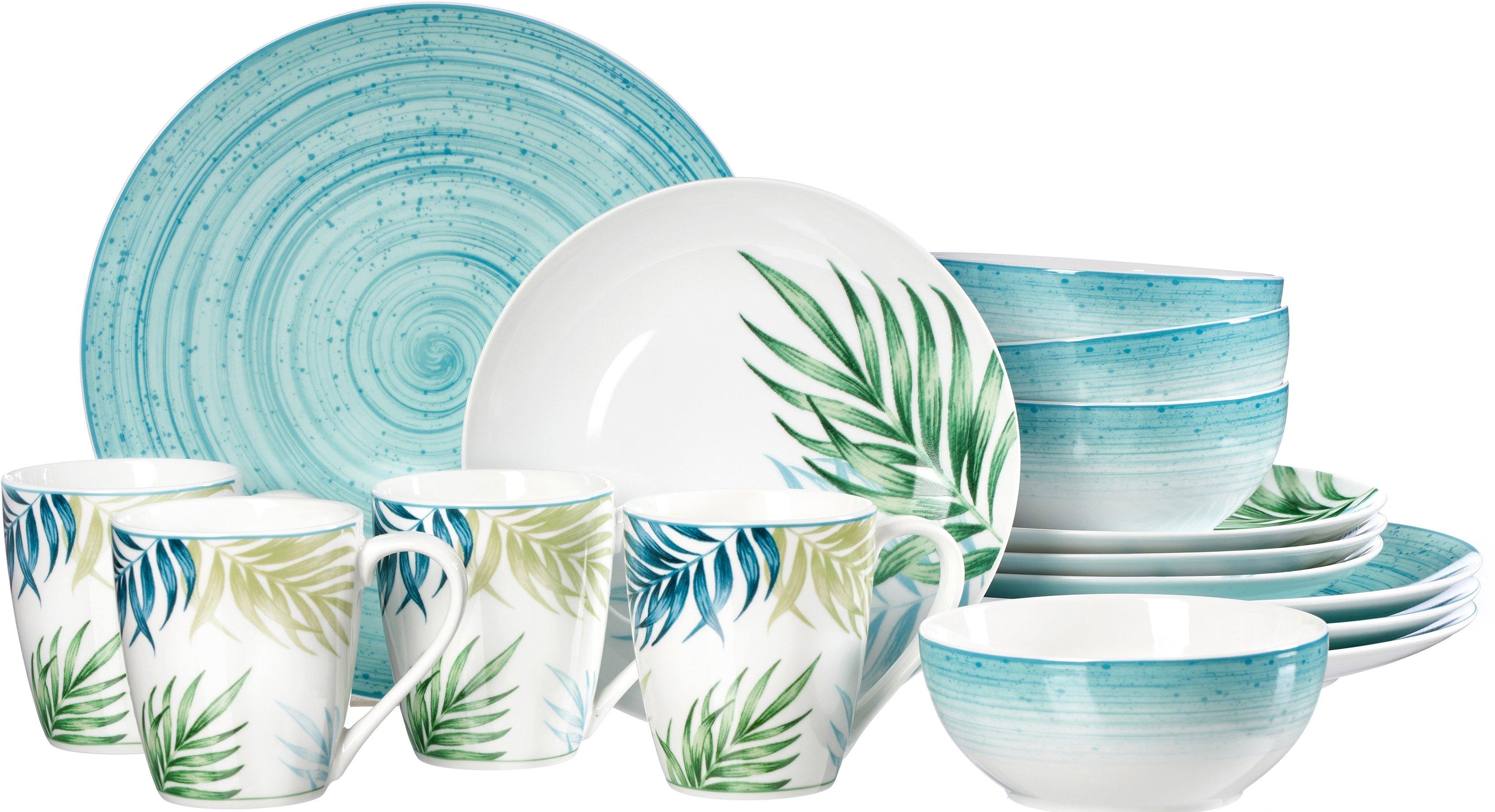 Ritzenhoff & Breker combi-servies Aruba Palmbladendecor gemengd met zeeblauwe delen (set, 16 delig) nu online bestellen