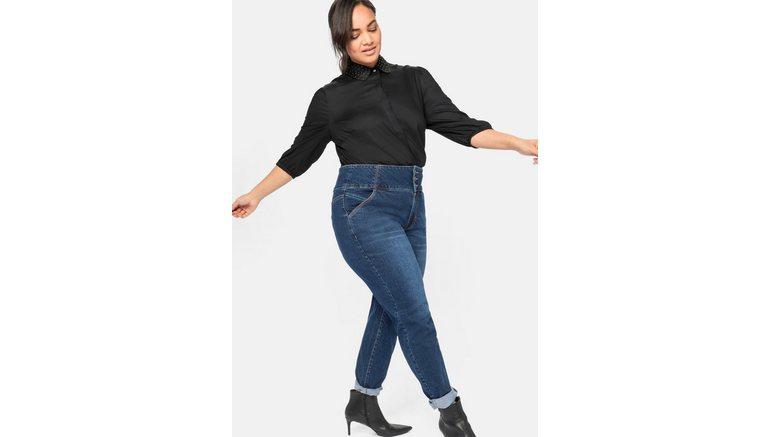 Sheego stretch jeans met highwaist-band