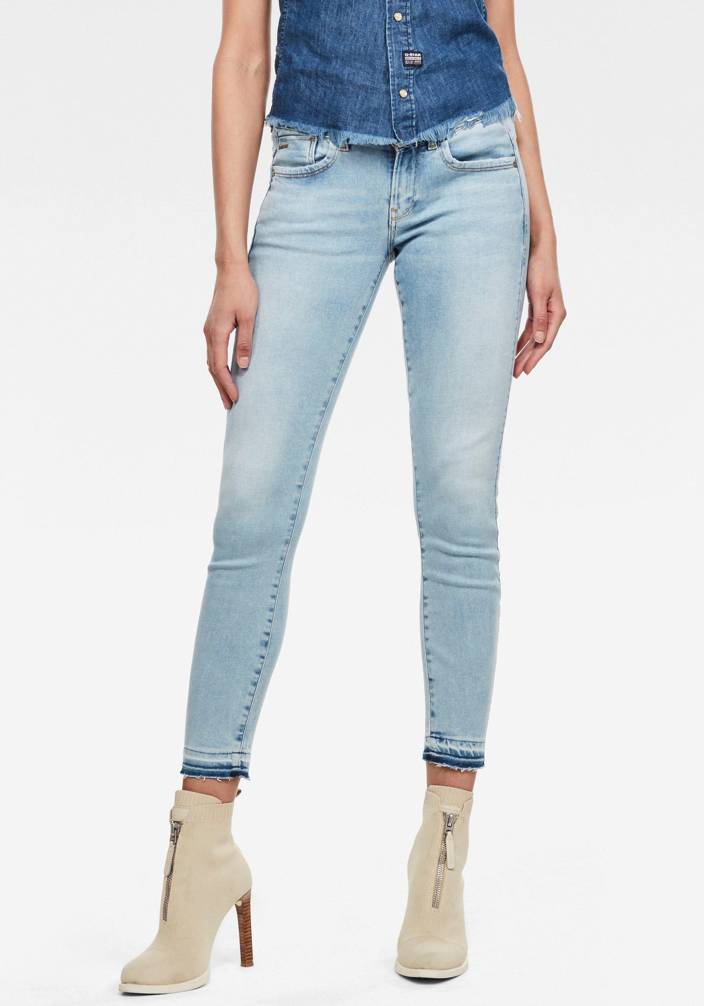 G-Star RAW skinny fit jeans Lynn Mid Skinny Ripped Edge Ankle Jeans met iets gerafelde zoom van de pijp bestellen: 30 dagen bedenktijd