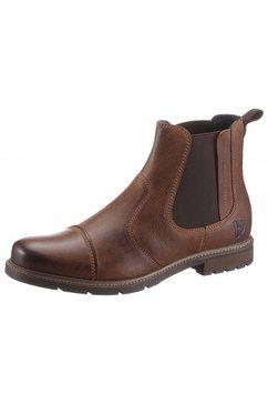 bruno banani chelsea-boots met stretchinzet bruin