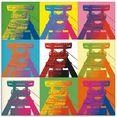 artland print op glas productietoren popart (1 stuk) multicolor