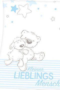 baby best babydeken kleine favoriete persoon met een leuk motief en opschrift blauw