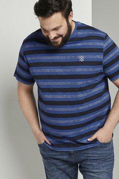 tom tailor men plus t-shirt »gestreiftes t-shirt mit kleiner stickerei« paars