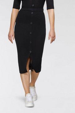bruno banani gebreide rok in gemêleerde look in een nieuwe lengte zwart