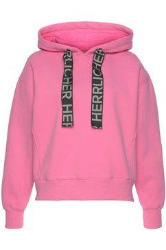 herrlicher hoodie nixi met statement-koordstrings roze