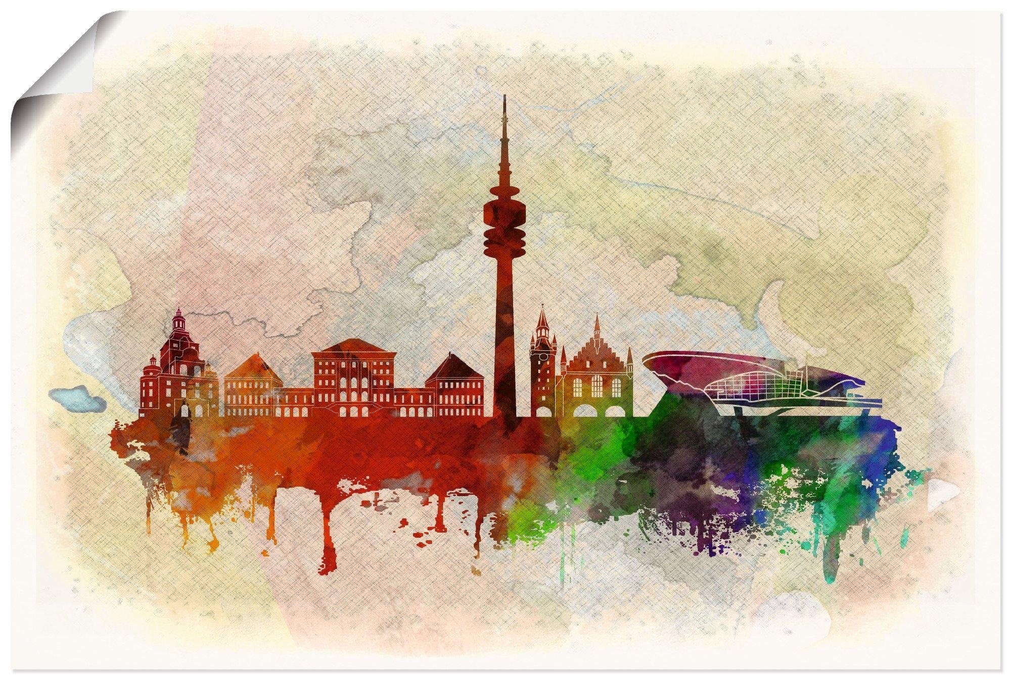 Artland artprint München Duitsland Skyline in vele afmetingen & productsoorten - artprint van aluminium / artprint voor buiten, artprint op linnen, poster, muursticker / wandfolie ook geschikt voor de badkamer (1 stuk) bij OTTO online kopen