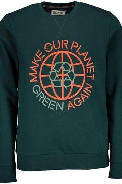 esprit sweatshirt met statement-frontprint groen