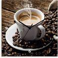 artland wandklok hete koffie - hete koffie geluidloos, zonder tikkende geluiden, niet tikkend, geruisloos - naar keuze: radiografische klok of kwartsklok, moderne klok voor woonkamer, keuken etc. - stijl: modern bruin
