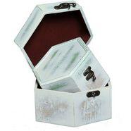 ambiente haus opbergbox zeephout grijs houten flessendoos set van 2 a (1 stuk) wit