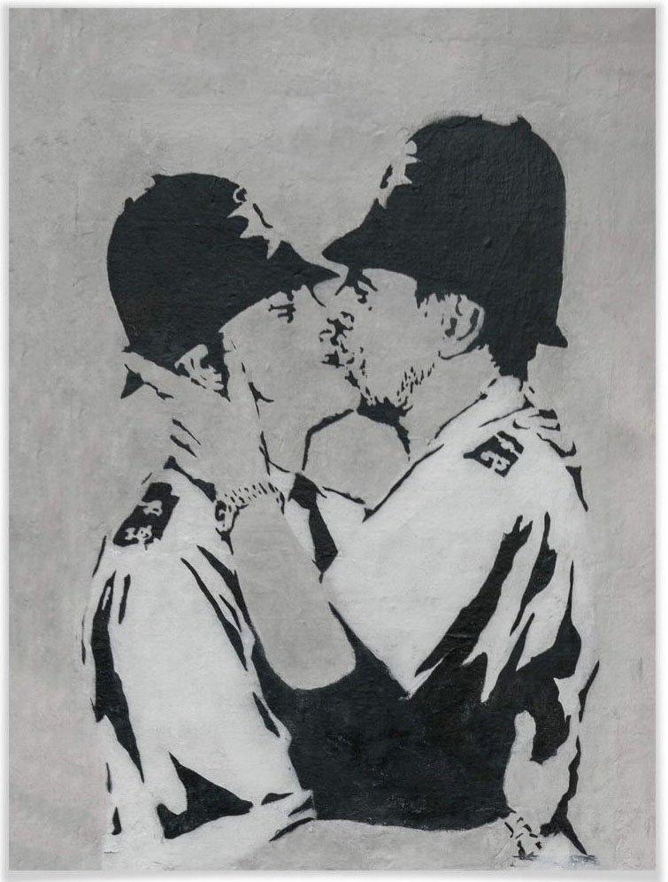 Wall-Art poster Graffiti afbeelding Kissing Policemen Poster, artprint, wandposter (1 stuk) veilig op otto.nl kopen