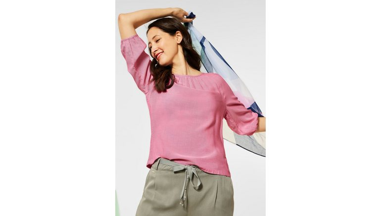 STREET ONE blouse met lange mouwen met fijne plooien