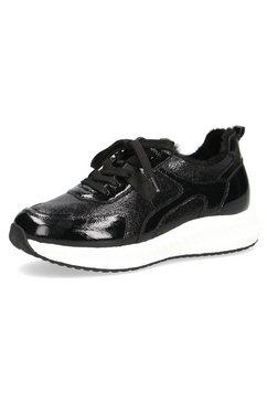 caprice sneakers met sleehak in een prettige wijdte zwart