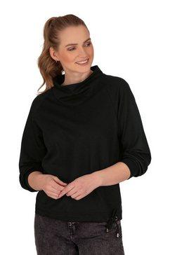 trigema sweatshirt met modieuze kraag zwart