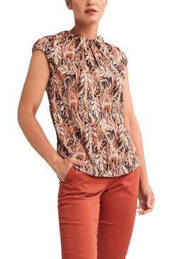 comma satijnen blouse met gegolfde kraag bruin