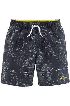 s.oliver red label beachwear zwemshort met contrastkleurig detail zwart