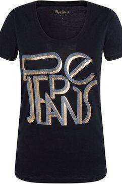 pepe jeans t-shirt lore met goud-zilveren merknamen-print zwart