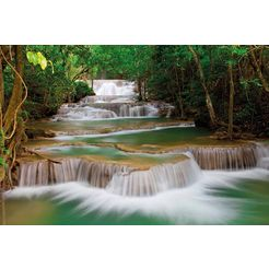 bmd fotobehang »deep forest waterfall« multicolor