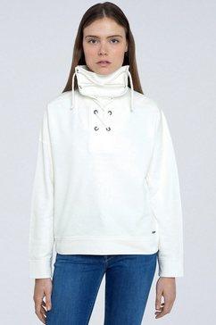pepe jeans sweater bahira met grote kraag die gestrikt kan worden wit