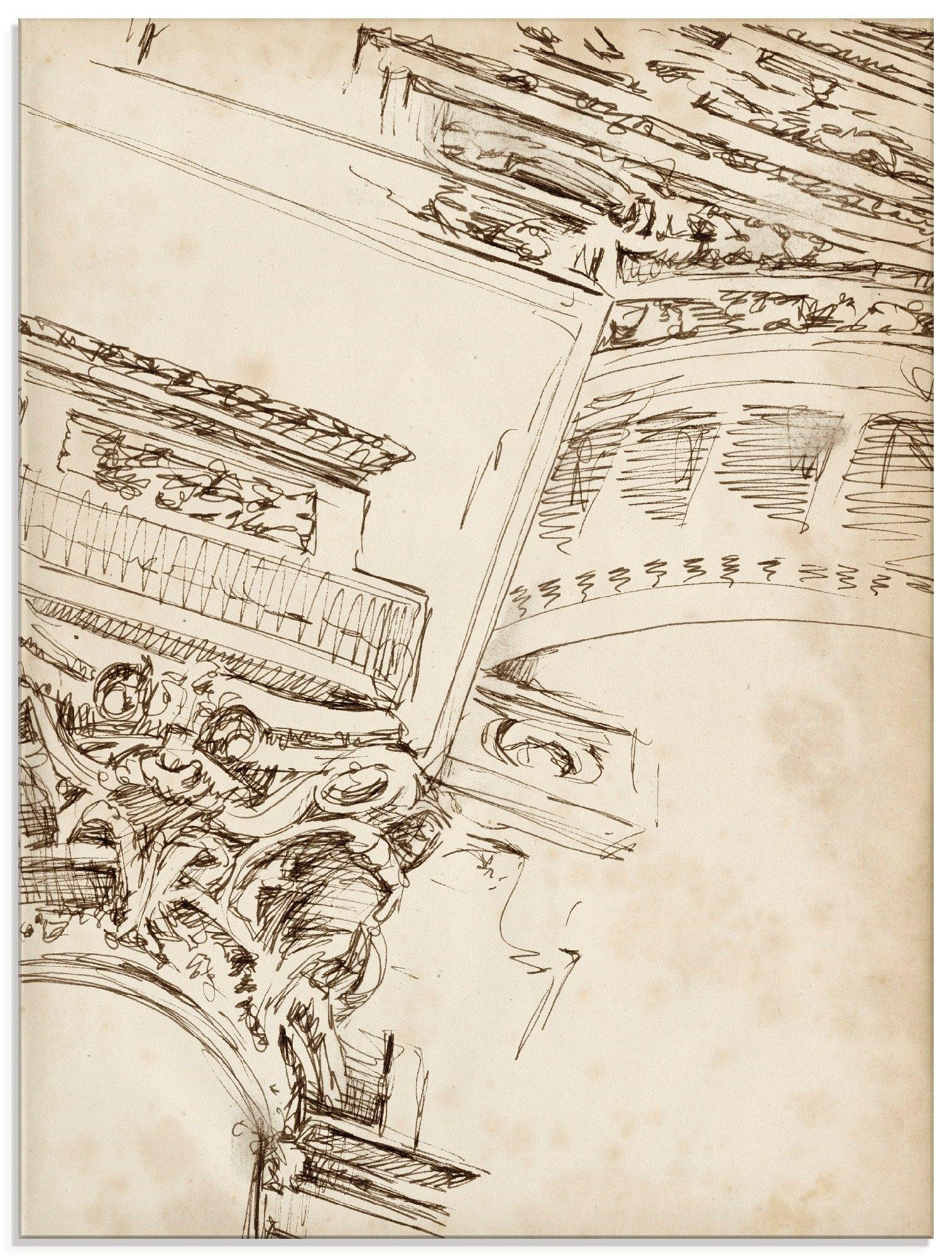 Artland print op glas Architectuur schetsboek II (1 stuk) bestellen: 30 dagen bedenktijd