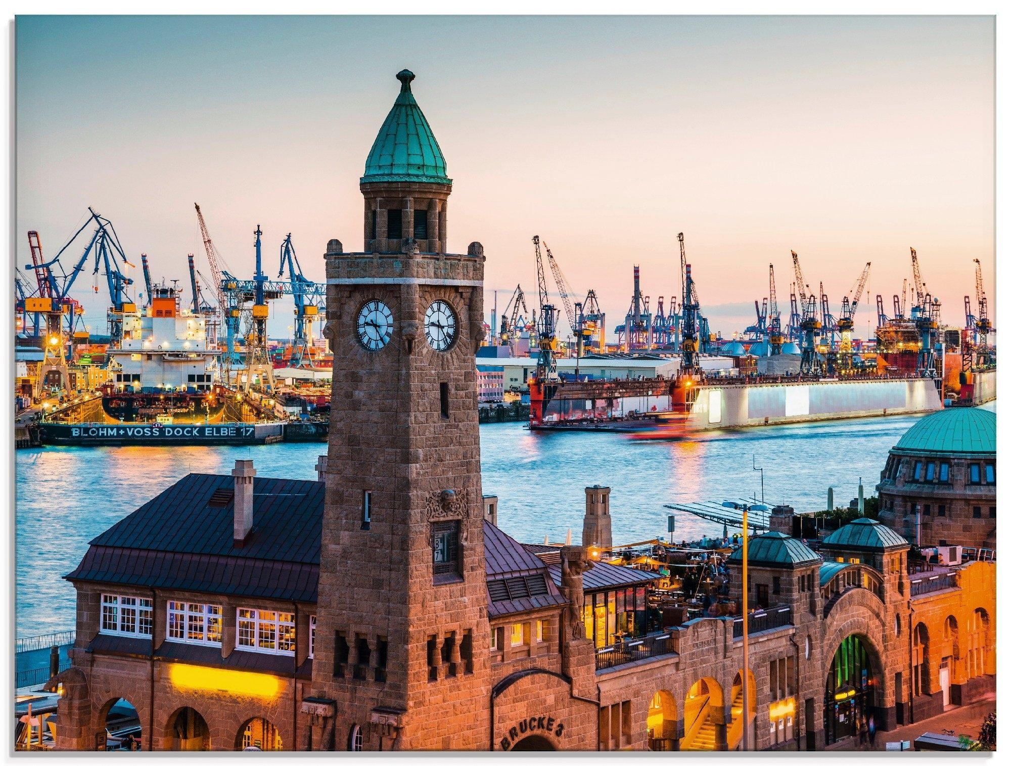 Artland print op glas Hamburg Klokkentoren aan de haven (1 stuk) nu online kopen bij OTTO