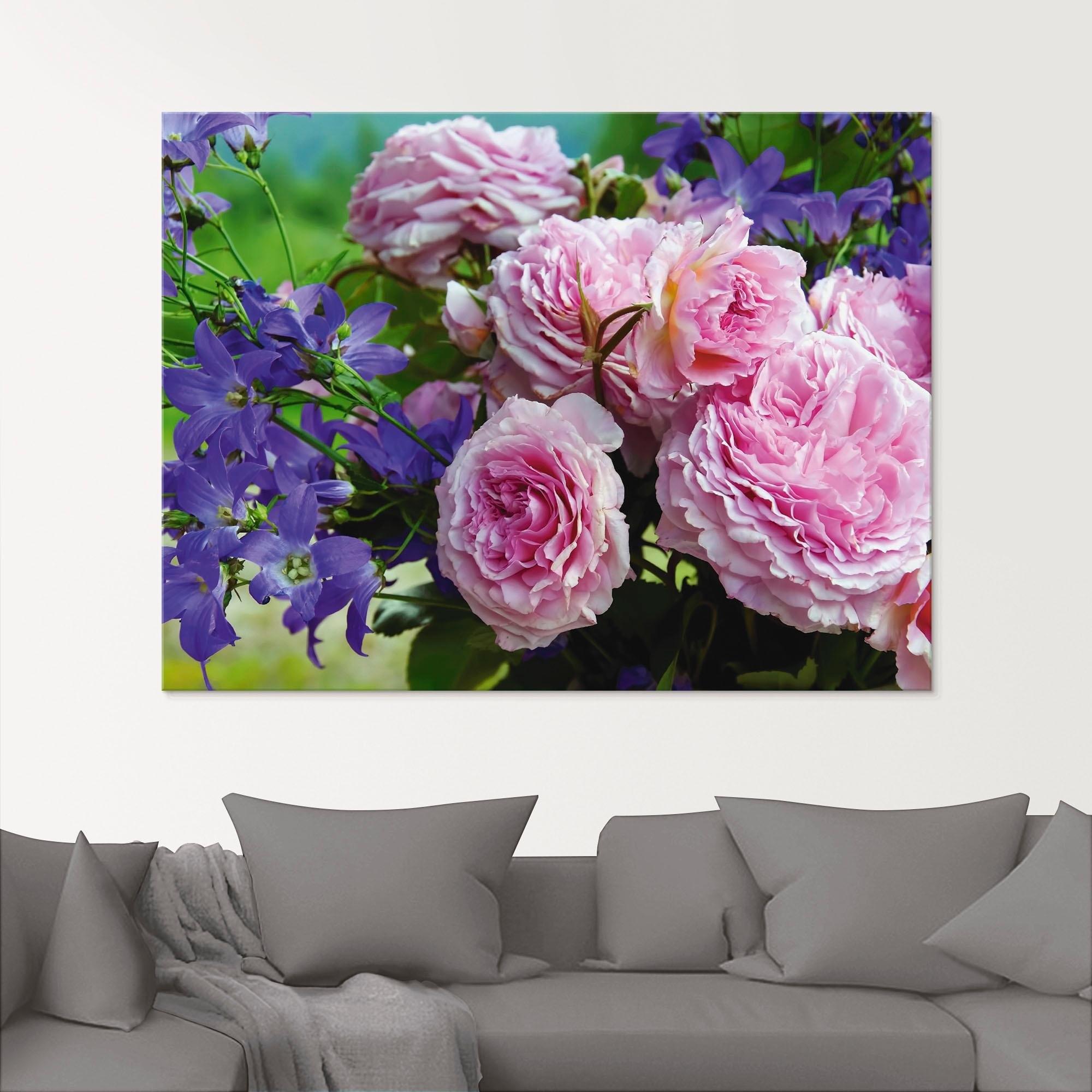 Artland print op glas »Rosen und Glockenblumen« voordelig en veilig online kopen