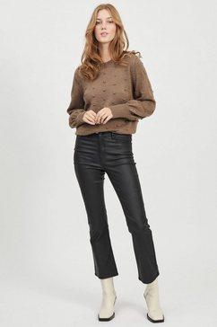 object stretchbroek objbelle mw 7-8 coated flared pant in trendy flared-stijl met chique coating zwart