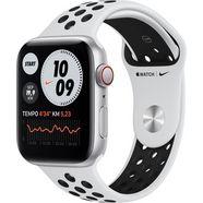 apple watch nike se gps + cellular, aluminium kast met nike sportbandje 44 mm inclusief oplaadstation (magnetische oplaadkabel) zilver