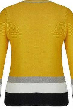 rabe trui met ronde hals geel