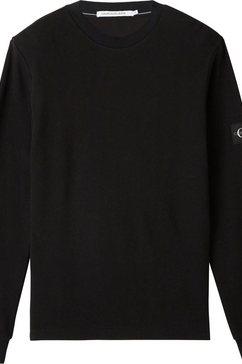 calvin klein shirt met lange mouwen »monogram badge waffle ls tee« zwart