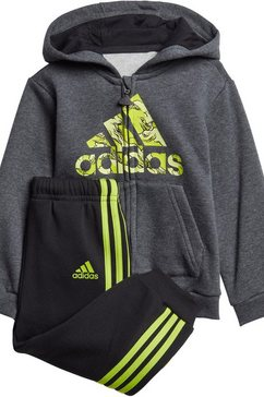 adidas performance joggingpak »logo fullzip hood fleece« zwart