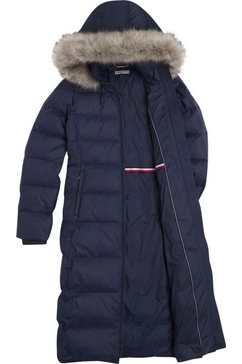 tommy hilfiger doorgestikte jas »th ess tyra down maxi with fur« blauw