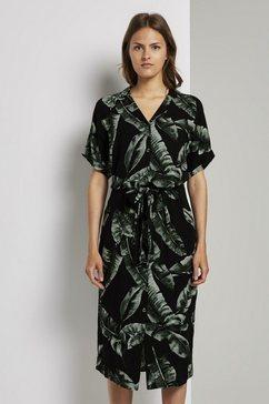 tom tailor mine to five jurk met overhemdkraag »fliessendes midi-kleid mit palmen-print« zwart