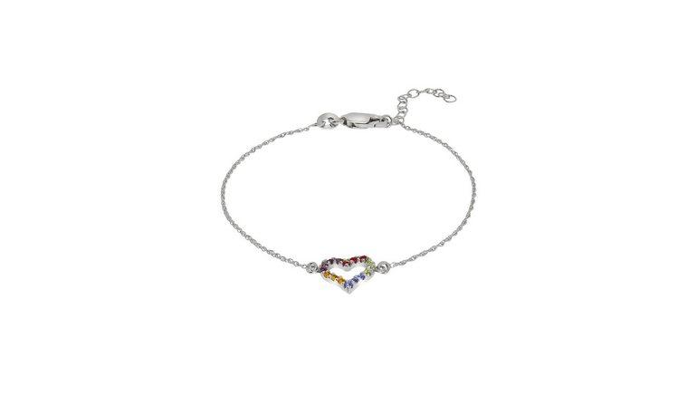 Firetti zilveren armband »Herz & Regenbogenfarben, glänzend und rhodiniert«