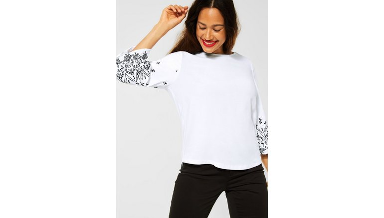 STREET ONE shirt met 3/4-mouwen Met borduurwerk