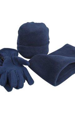 result gebreide muts »unisex active fleece winter-set mit muetze, handschuhen und halswaermer , anti-pilling« blauw
