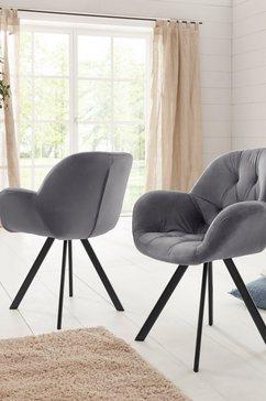 premium collection by home affaire stoel met armleuningen elli bekleding in fluweel, zwart metalen frame (set, 2 stuks) grijs