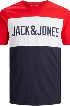 jack  jones junior t-shirt »jjelogo blocking tee ss« rood