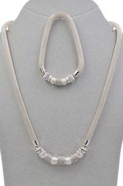j jayz set van kettingen en armband »meshkettengliederung, glamouroes und glaenzend« zilver