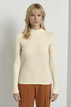 tom tailor mine to five shirt met lange mouwen »geripptes langarmshirt mit stehkragen« beige