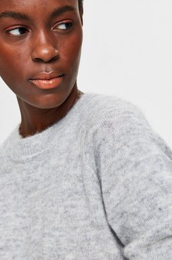 selected femme trui met ronde hals »slflulu« grijs
