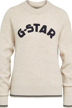 g-star raw trui met ronde hals »college gr r loose knit wmn« wit