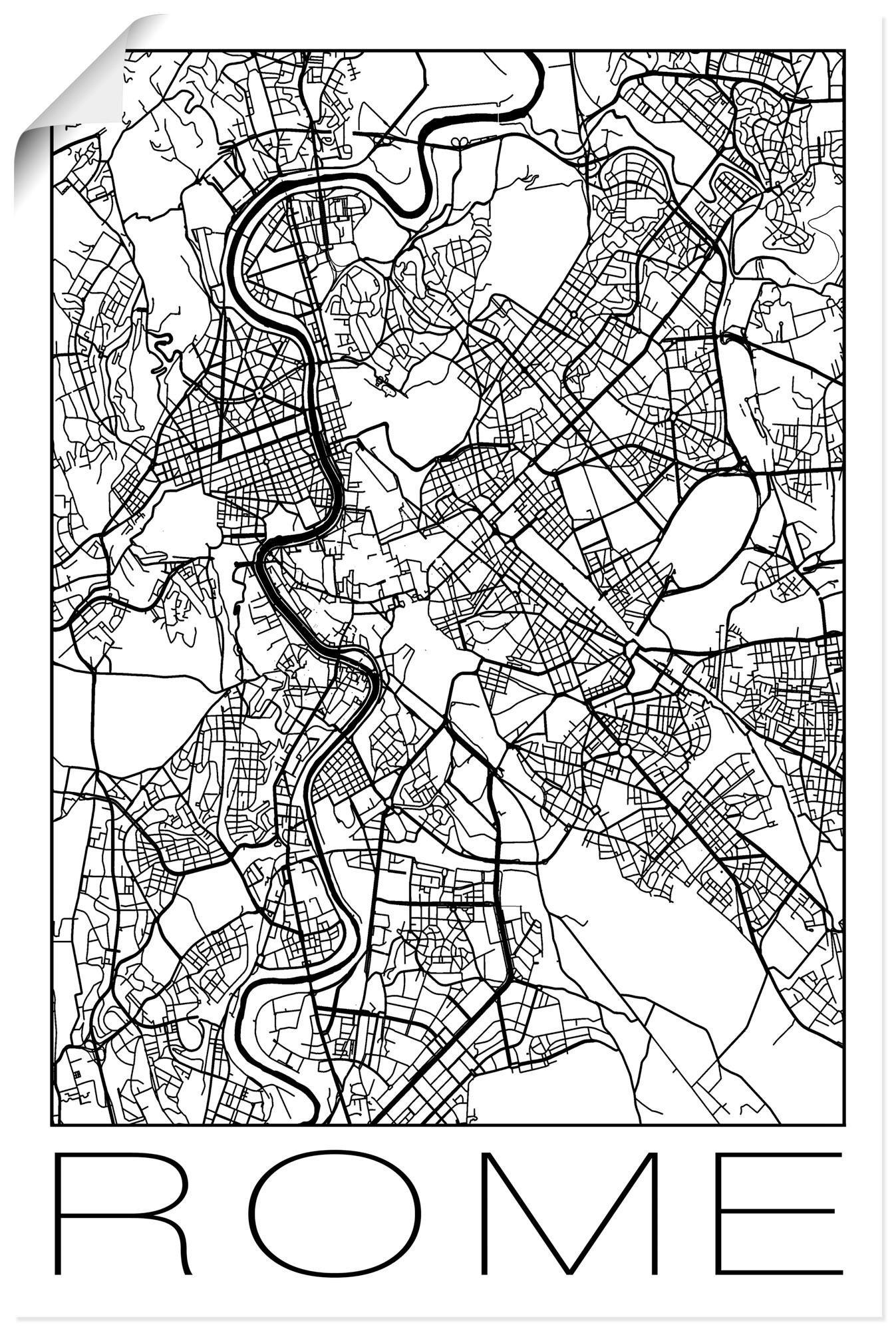 Artland artprint »Retro Karte Rom Italien Schwarz & Weiß« online kopen op otto.nl