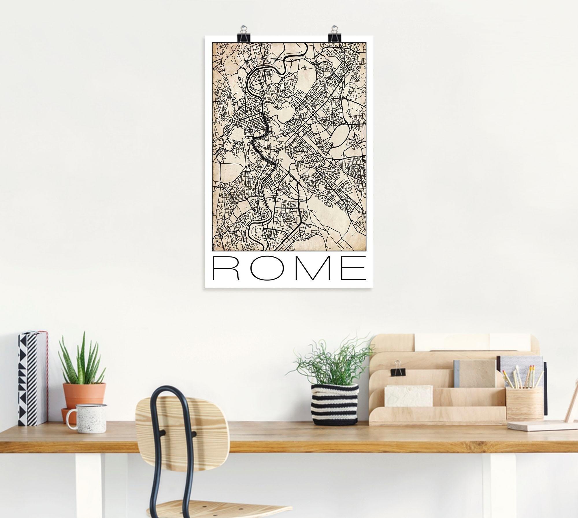 Artland artprint »Retro Karte Rom Italien Grunge« - verschillende betaalmethodes