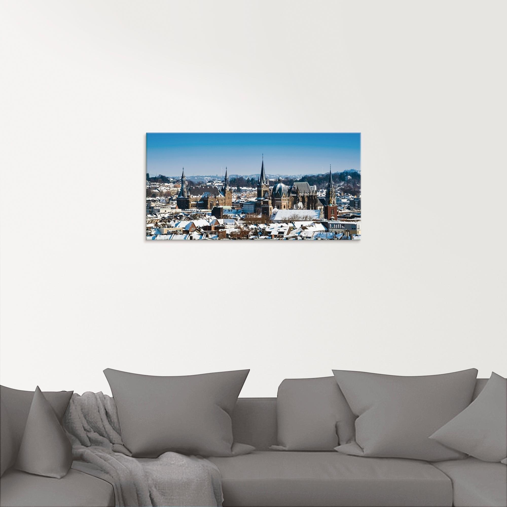 Artland print op glas »Aachen im Winter« nu online bestellen