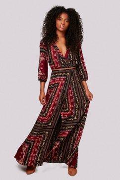 apricot maxi-jurk »scarf print crepe fauxwrap dress« (met een afneembare riem) rood