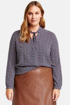 samoon blouse met lange mouwen »bluse mit schleifenzier« blauw
