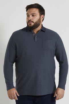 tom tailor men plus shirt met lange mouwen »langarm poloshirt mit streifenstruktur« blauw