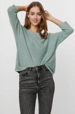 vero moda trui met ronde hals vmnora in breedteribstructuur groen
