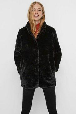 vero moda lange jas van imitatiebont »vmthea« zwart