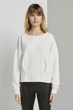 tom tailor denim sweatshirt »strukturierter sweater« wit